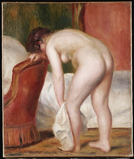 Nude Drying Herself, c.1909 (oil on canvas)  by Renoir, Pierre Auguste (1841-1919); Private Collection; Photo © Christie's Images; French, out of copyright