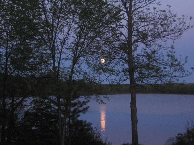 lune sur le lac